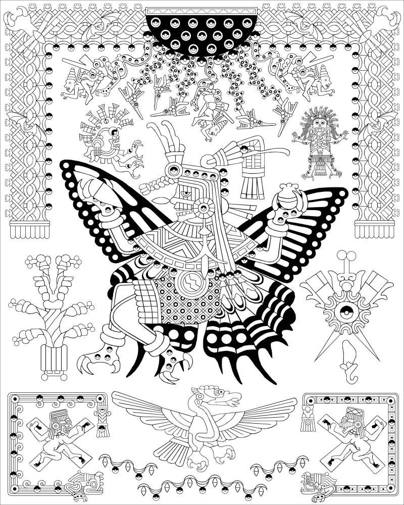 Drawings From The Coloring Book Page Itzpapalotl Obsidian Butterfly